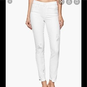 PAIGE Verdugo Crop Crystal White Destroyed Jeans